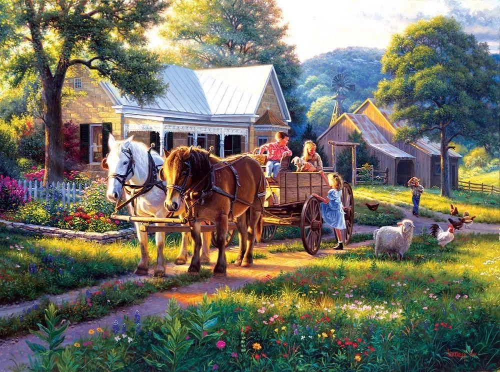 暖阳下美好的童年,美国艺术家马克·凯斯利插图