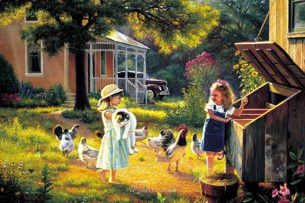 暖阳下美好的童年,美国艺术家马克·凯斯利插图2