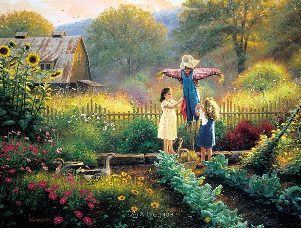 暖阳下美好的童年,美国艺术家马克·凯斯利插图3