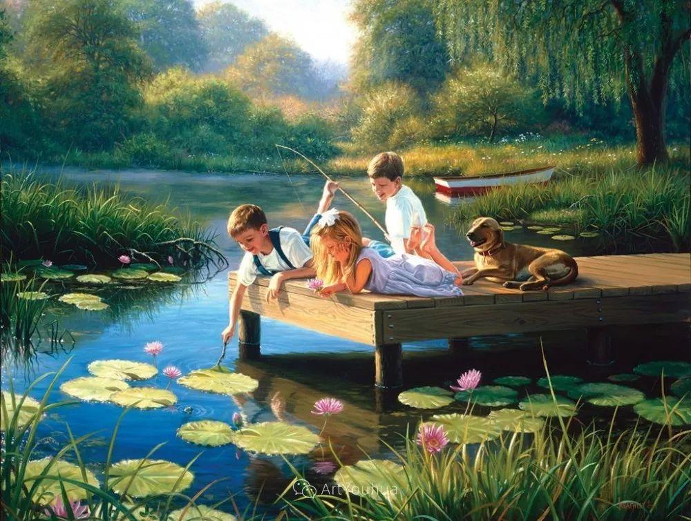 暖阳下美好的童年,美国艺术家马克·凯斯利插图4