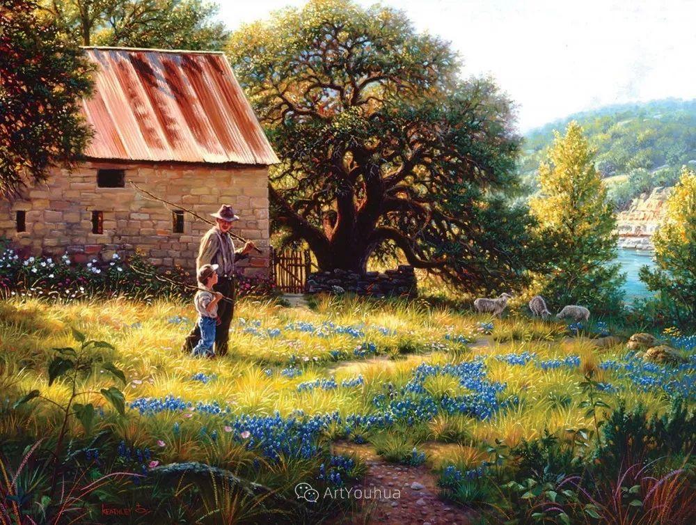 暖阳下美好的童年,美国艺术家马克·凯斯利插图5
