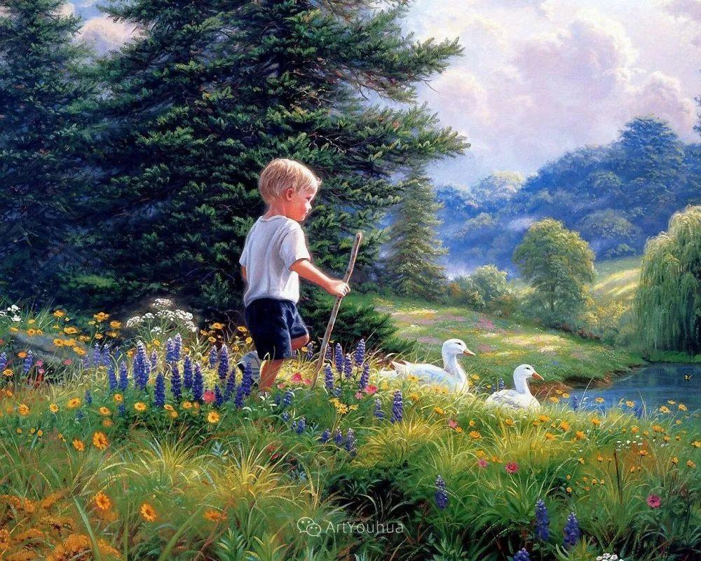 暖阳下美好的童年,美国艺术家马克·凯斯利插图6