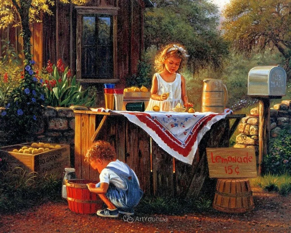 暖阳下美好的童年,美国艺术家马克·凯斯利插图9