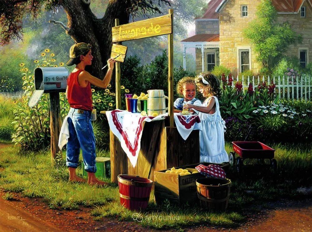 暖阳下美好的童年,美国艺术家马克·凯斯利插图10