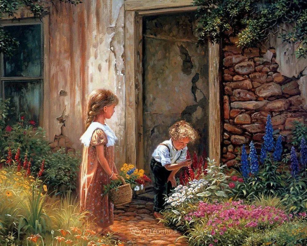 暖阳下美好的童年,美国艺术家马克·凯斯利插图12
