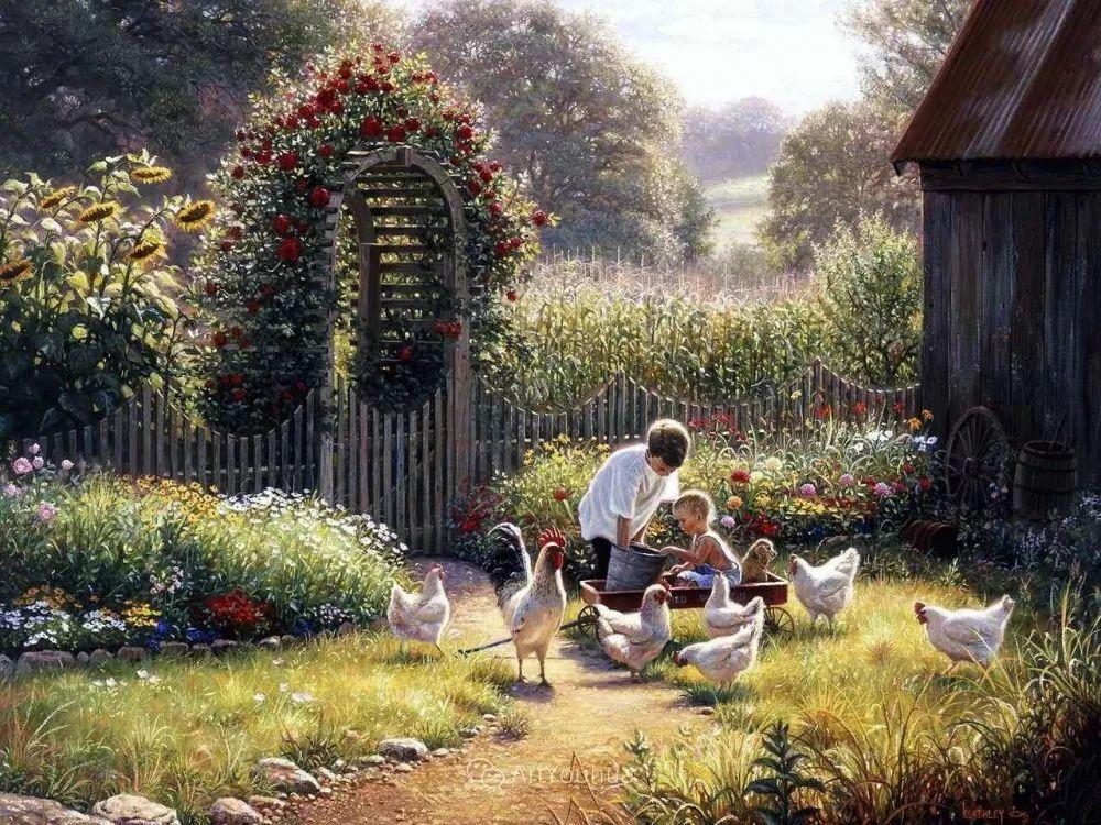暖阳下美好的童年,美国艺术家马克·凯斯利插图13