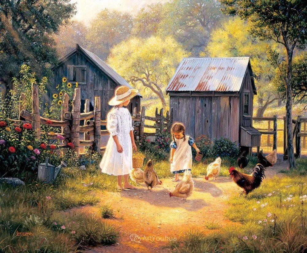 暖阳下美好的童年,美国艺术家马克·凯斯利插图14