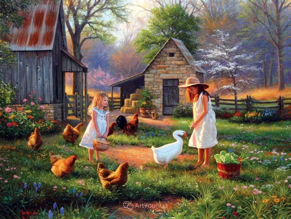 暖阳下美好的童年,美国艺术家马克·凯斯利插图15
