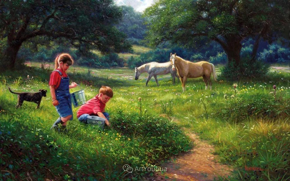暖阳下美好的童年,美国艺术家马克·凯斯利插图16