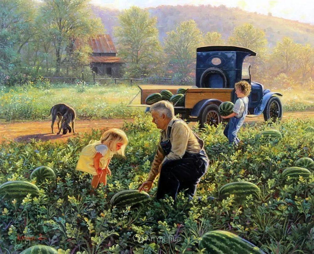 暖阳下美好的童年,美国艺术家马克·凯斯利插图18