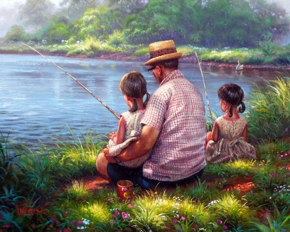 暖阳下美好的童年,美国艺术家马克·凯斯利插图19