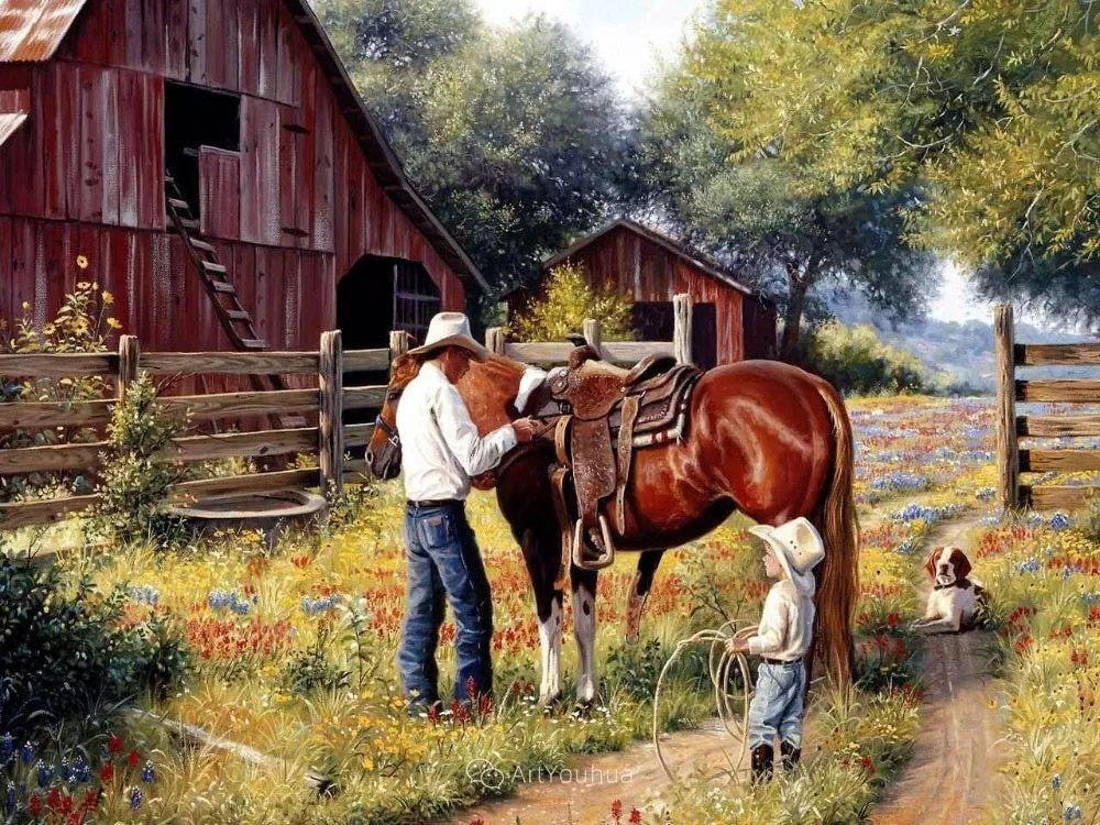 暖阳下美好的童年,美国艺术家马克·凯斯利插图22