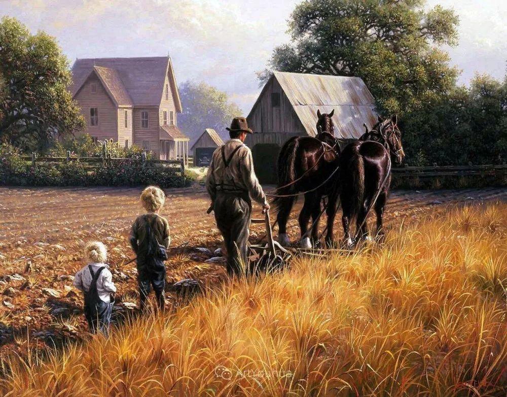暖阳下美好的童年,美国艺术家马克·凯斯利插图26