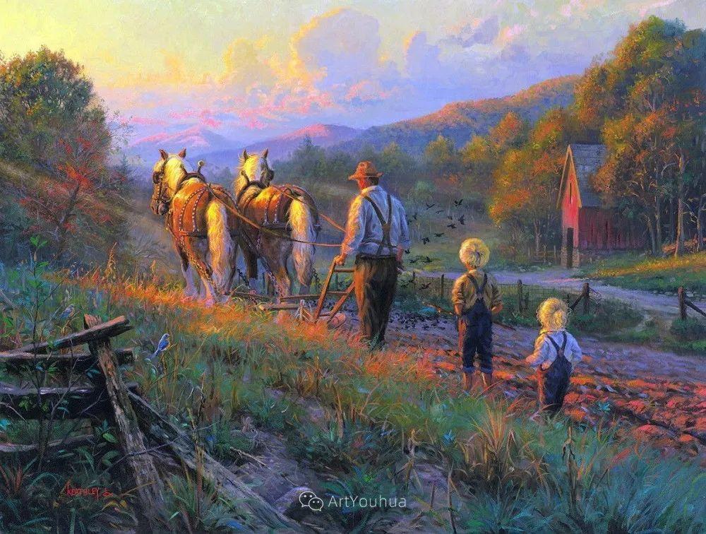 暖阳下美好的童年,美国艺术家马克·凯斯利插图27