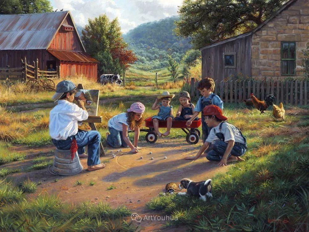 暖阳下美好的童年,美国艺术家马克·凯斯利插图30