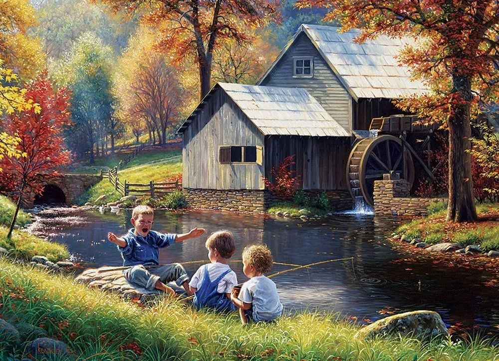 暖阳下美好的童年,美国艺术家马克·凯斯利插图31