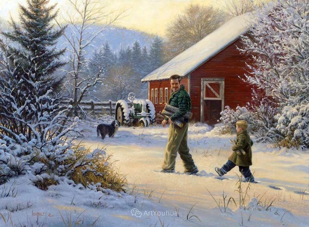 暖阳下美好的童年,美国艺术家马克·凯斯利插图33