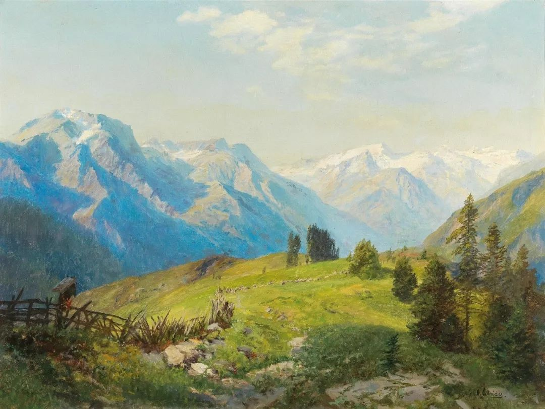 山地景观,奥地利艺术家:康拉德·佩特里德斯 (1864-1944)插图1