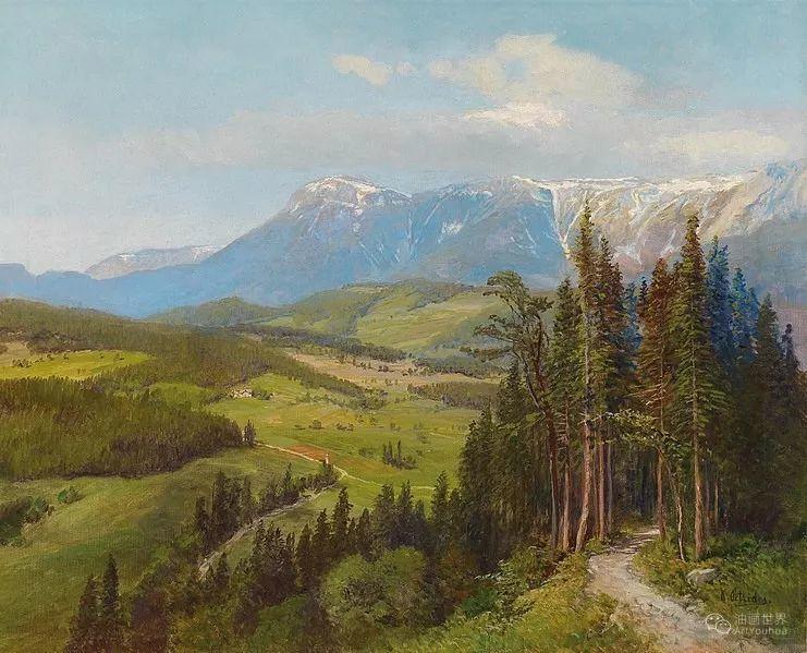 山地景观,奥地利艺术家:康拉德·佩特里德斯 (1864-1944)插图3