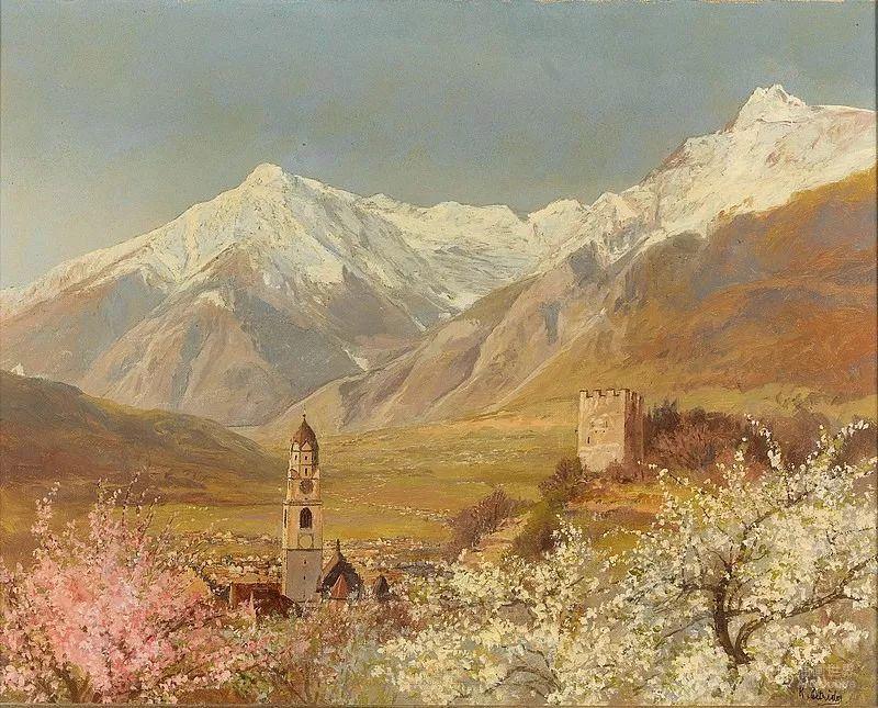 山地景观,奥地利艺术家:康拉德·佩特里德斯 (1864-1944)插图5