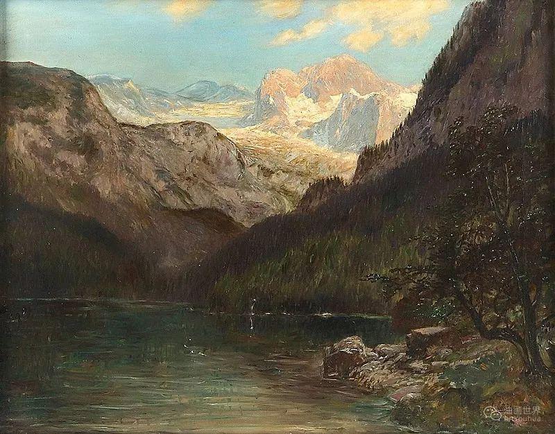 山地景观,奥地利艺术家:康拉德·佩特里德斯 (1864-1944)插图7