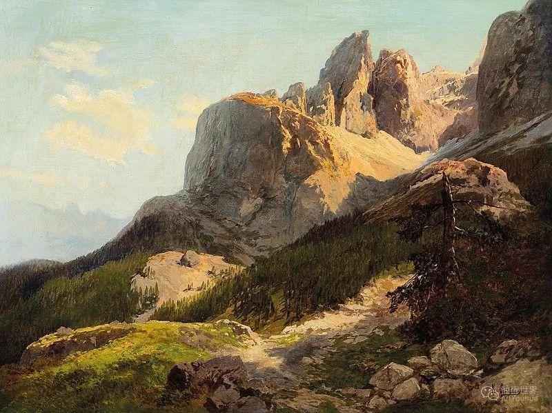 山地景观,奥地利艺术家:康拉德·佩特里德斯 (1864-1944)插图9