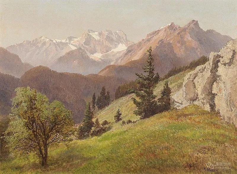 山地景观,奥地利艺术家:康拉德·佩特里德斯 (1864-1944)插图11