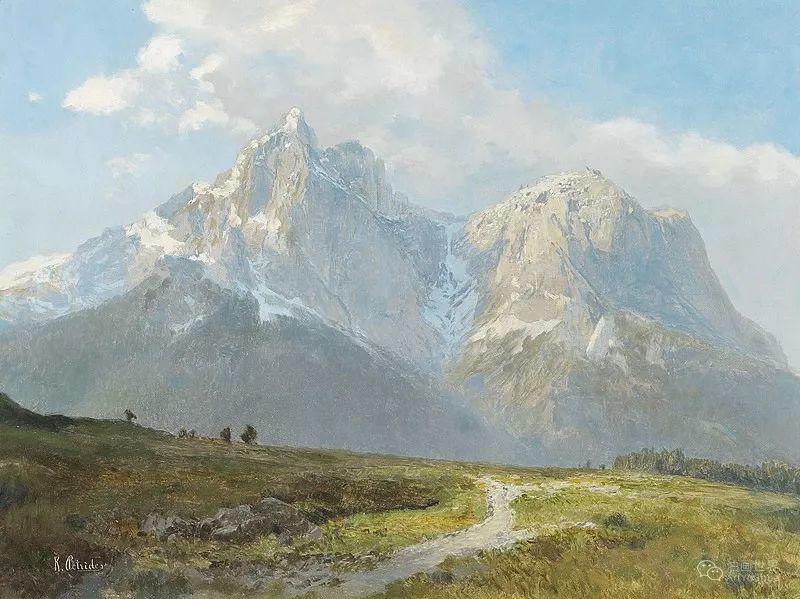 山地景观,奥地利艺术家:康拉德·佩特里德斯 (1864-1944)插图13