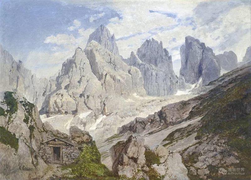 山地景观,奥地利艺术家:康拉德·佩特里德斯 (1864-1944)插图17