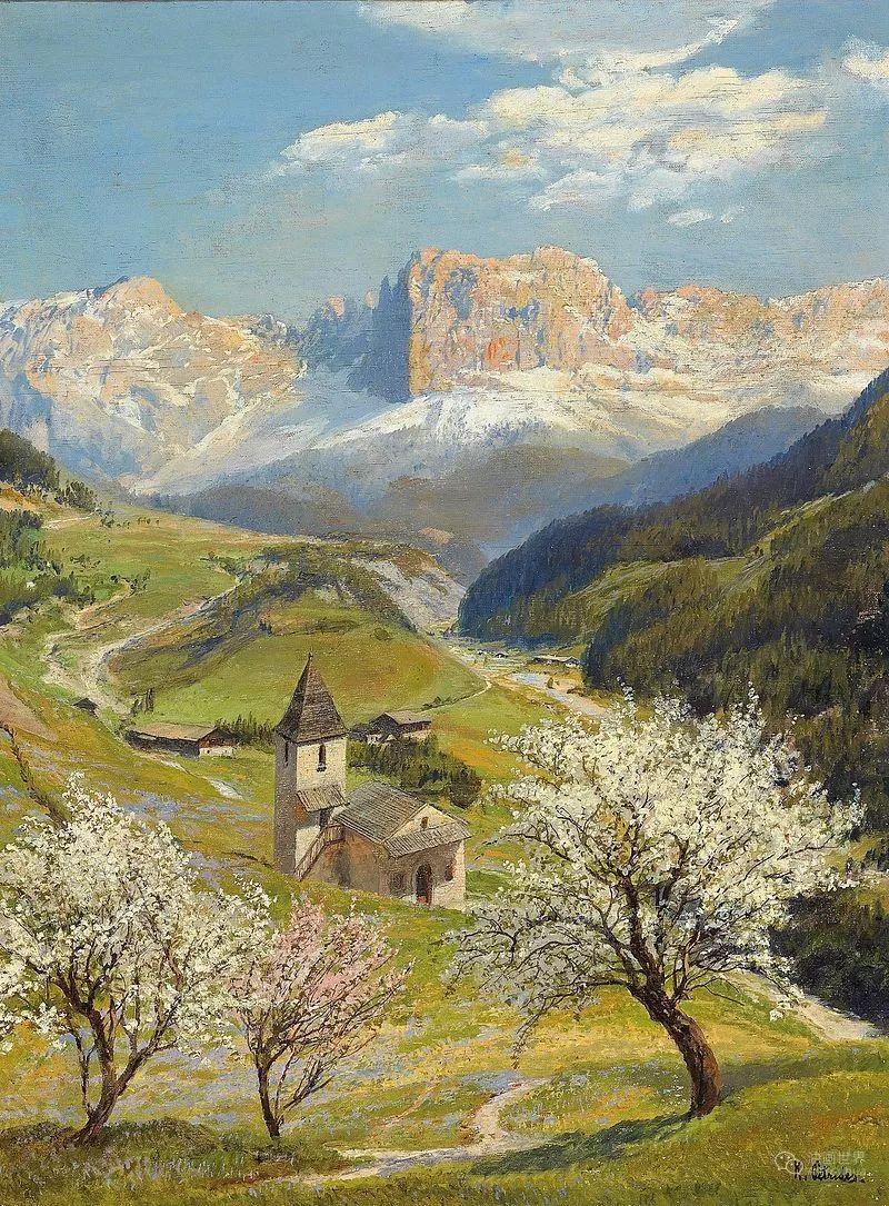 山地景观,奥地利艺术家:康拉德·佩特里德斯 (1864-1944)插图19