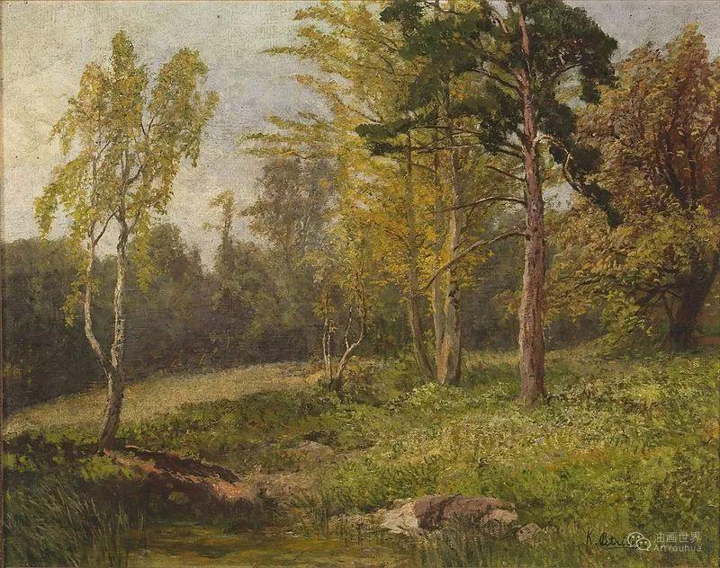 山地景观,奥地利艺术家:康拉德·佩特里德斯 (1864-1944)插图21