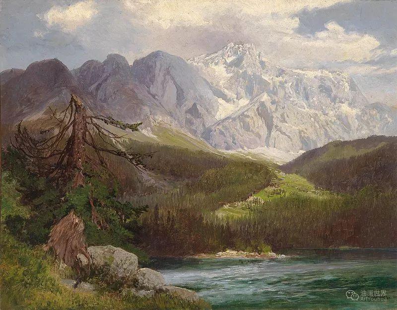 山地景观,奥地利艺术家:康拉德·佩特里德斯 (1864-1944)插图23