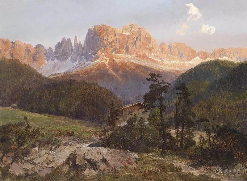 山地景观,奥地利艺术家:康拉德·佩特里德斯 (1864-1944)插图27