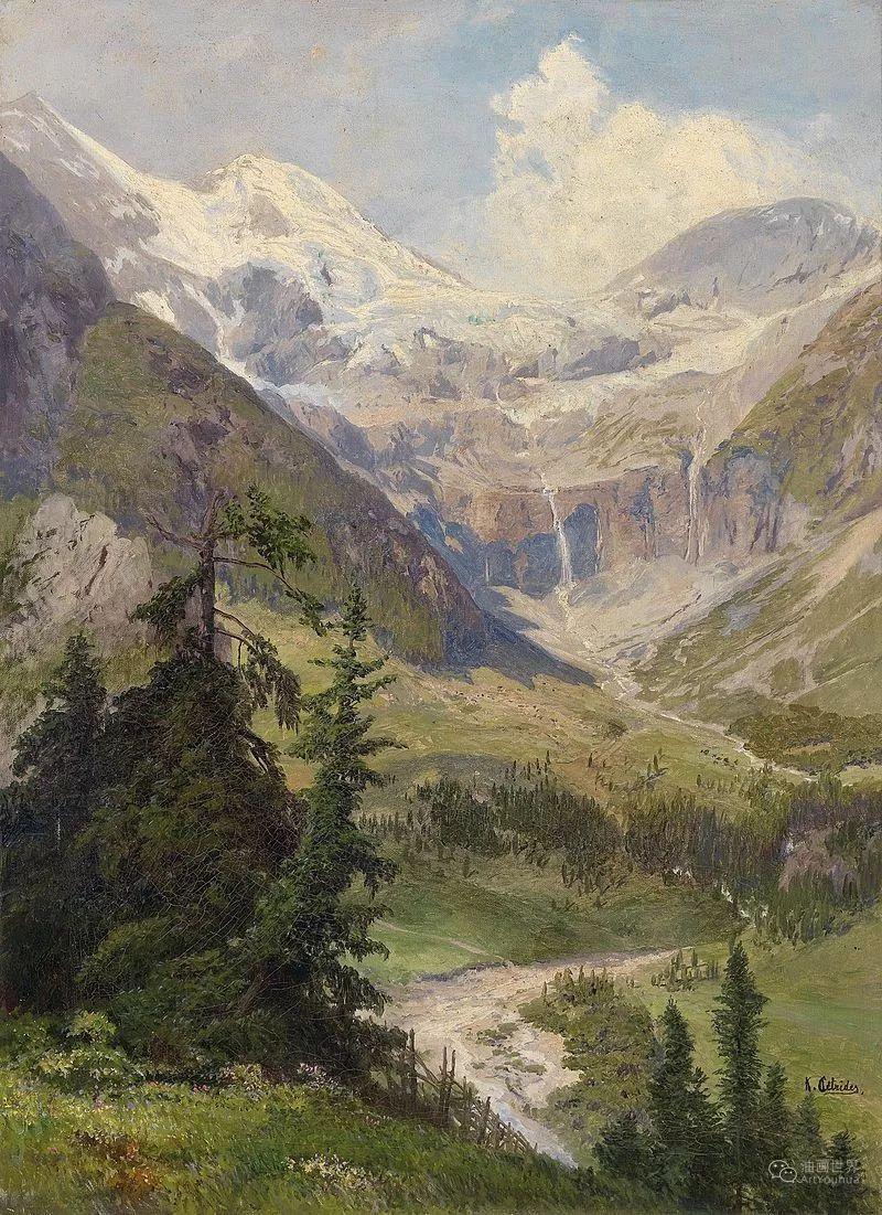 山地景观,奥地利艺术家:康拉德·佩特里德斯 (1864-1944)插图29