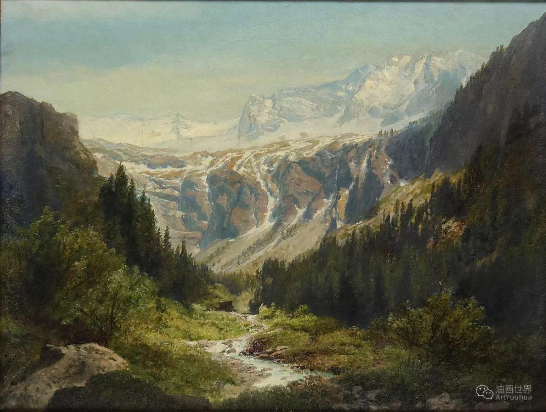 山地景观,奥地利艺术家:康拉德·佩特里德斯 (1864-1944)插图31