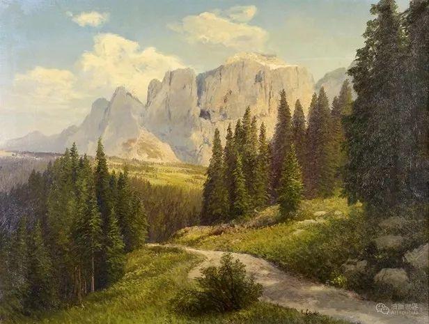 山地景观,奥地利艺术家:康拉德·佩特里德斯 (1864-1944)插图33