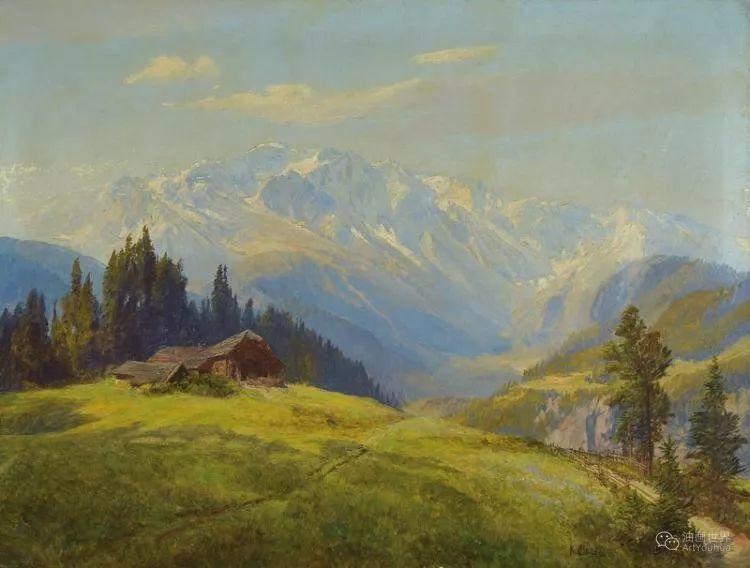 山地景观,奥地利艺术家:康拉德·佩特里德斯 (1864-1944)插图35