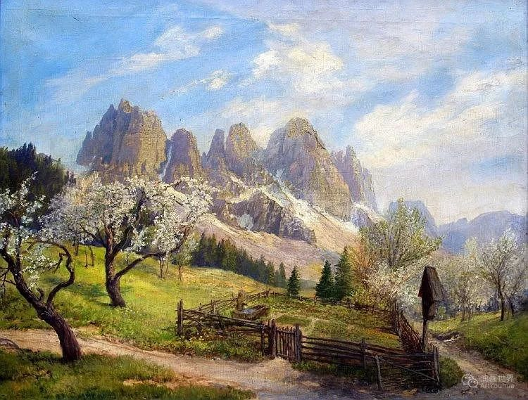 山地景观,奥地利艺术家:康拉德·佩特里德斯 (1864-1944)插图37