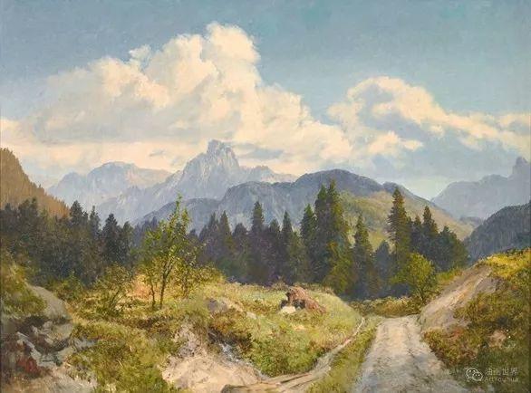 山地景观,奥地利艺术家:康拉德·佩特里德斯 (1864-1944)插图39