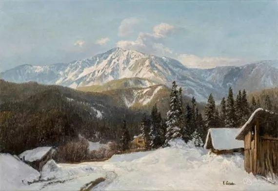 山地景观,奥地利艺术家:康拉德·佩特里德斯 (1864-1944)插图41