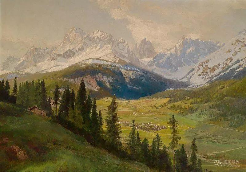 山地景观,奥地利艺术家:康拉德·佩特里德斯 (1864-1944)插图43