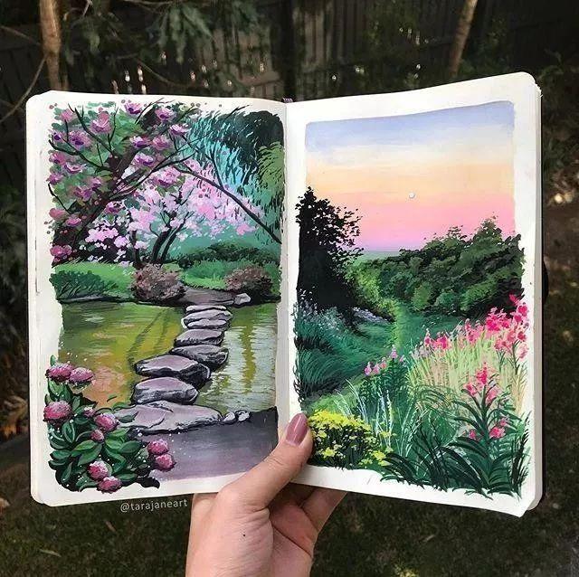 速写本里的美腻风景,看完仿佛置身于自然美丽的大森林插图23