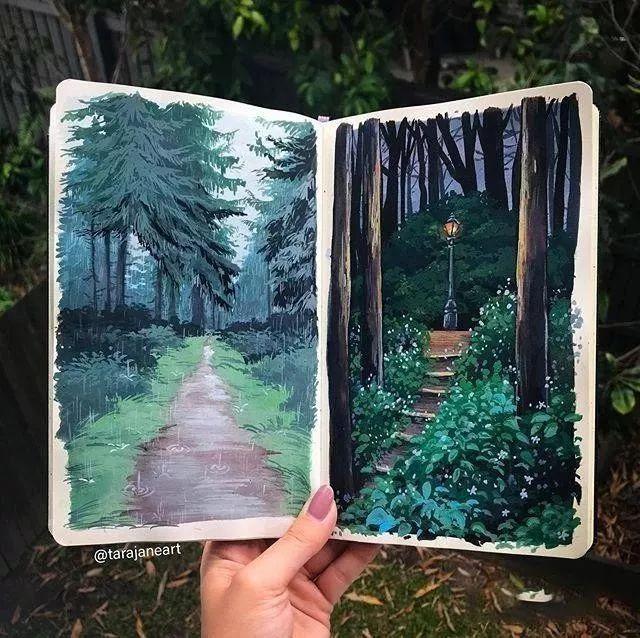 速写本里的美腻风景,看完仿佛置身于自然美丽的大森林插图31