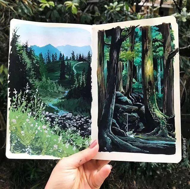 速写本里的美腻风景,看完仿佛置身于自然美丽的大森林插图33