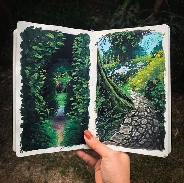 速写本里的美腻风景,看完仿佛置身于自然美丽的大森林插图37