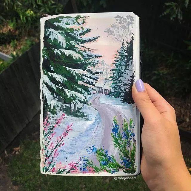 速写本里的美腻风景,看完仿佛置身于自然美丽的大森林插图41