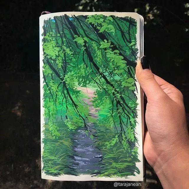 速写本里的美腻风景,看完仿佛置身于自然美丽的大森林插图53