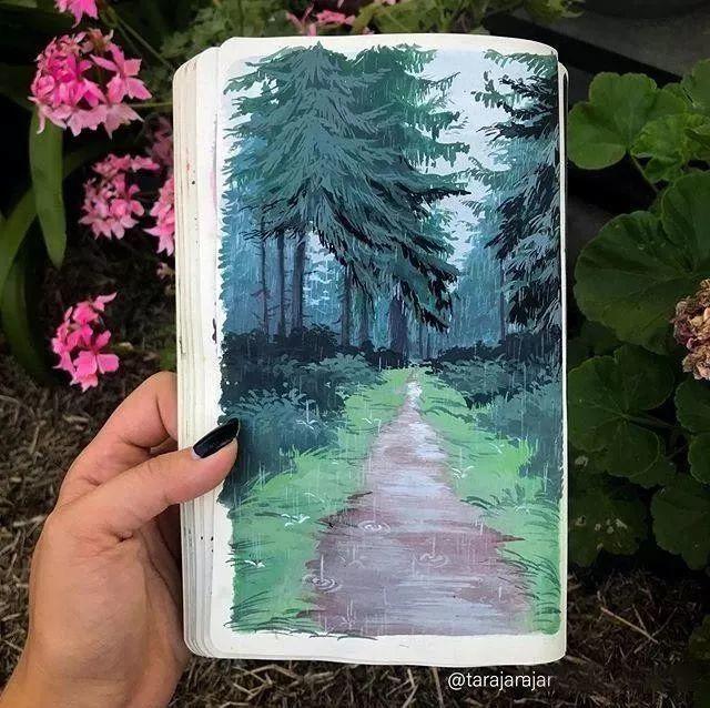 速写本里的美腻风景,看完仿佛置身于自然美丽的大森林插图57