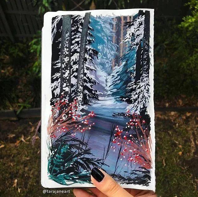 速写本里的美腻风景,看完仿佛置身于自然美丽的大森林插图59