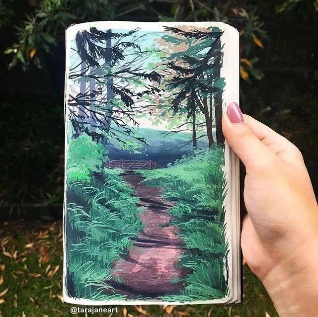 速写本里的美腻风景,看完仿佛置身于自然美丽的大森林插图61